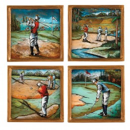 Golf Assorted 4 Pc Coaster Set 4 inches Square