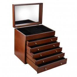 Wooden Walnut Finish Large 5 Drawer Jewelry Box