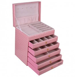 5 Drawer Pink Jewelry Organizer Box