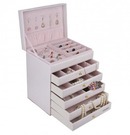 5 Drawer White Jewelry Organizer Box