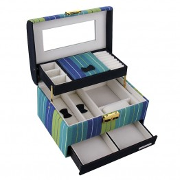Sea Blue Striped Medium 2 Drawer Jewelry Box