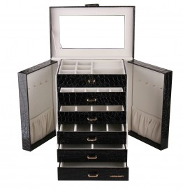 Black Extra Large 6 Drawer Jewelry Box