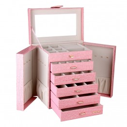 Pink Black Extra Large 6 Drawer Jewelry Box