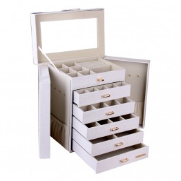 White Black Extra Large 6 Drawer Jewelry Box