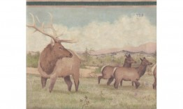 Beige Green Deer Scenery RST2433 Wallpaper Border