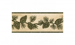 Beige and Green Lodge Pinecones TC48091B Wallpaper Border