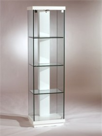 White Accent Glass Curio - Chintaly 6633-CUR