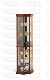 Solid Wood Cherry Finish Corner Curio Cabinet - Coaster 3393