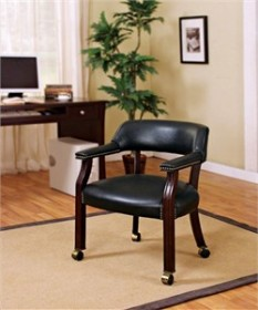 Black Office Guest Chair with Casters - Coaster 515K