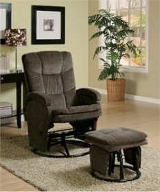 Chocolate Reclining Glider and Ottoman - Coaster 600159