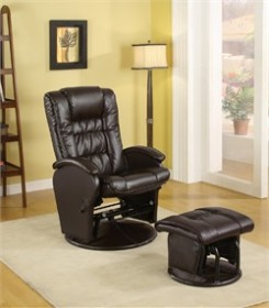 Brown Glider and Ottoman - Coaster 600164