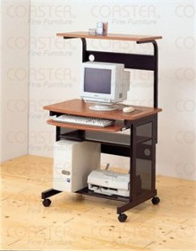 Walnut/Black Mobile Workstation Desk - Coaster 7121