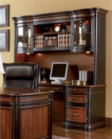 Double Pedestal Black/ Cherry Credenza Work Desk - Coaster 800500