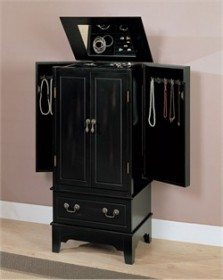 Transitional Black Jewelry Armoire - Coaster 900095