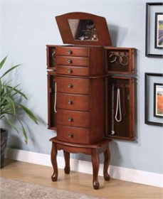 Transitional Warm Brown Jewelry Armoire - Coaster 900125