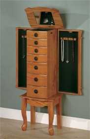 Country Oak Jewelry Armoire - Coaster 900135