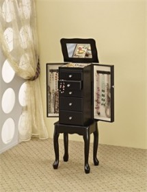 Traditional Black Jewelry Armoire - Coaster 900139