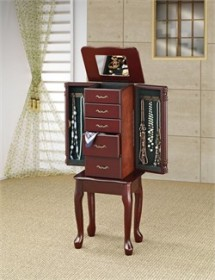 Traditional Cherry Jewelry Armoire - Coaster 900144