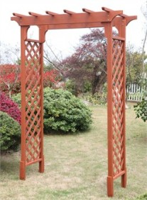 Deluxe Garden Arbor in Red Cedar Finish - Convenience Concepts G10328