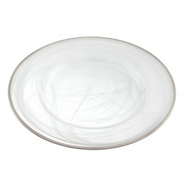 Metallic Silver Trim White Alabaster Charger Plate