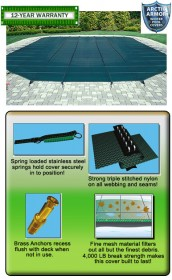 12' X 24' Rect. Mesh Safety Pool Cover w/ CES
