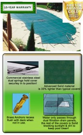 12' X 24' Rect. Solid GOLD Safety Pool Cover w/ CES