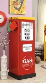 Furniture of America Vogler Gas Station Single-Door Closet in Red - Enitial Lab IDF-AC6261RD