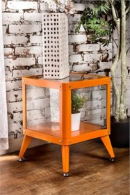 Furniture of America Congdon Modern 1-Shelf Small Metal Display Cabinet in Orange - Enitial Lab IDF-AC6273OR-S