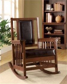 Furniture of America Boswell Traditional Leatherette Rocker Chair in Espresso - Enitial Lab IDF-AC6580
