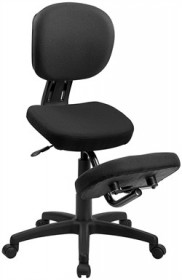 Mobile Ergonomic Kneeling Posture Task Chair in Black Fabric w/ Back - Flash Furniture WL-1430-GG