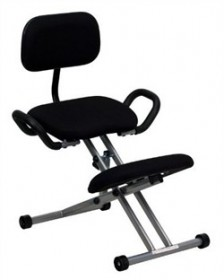 Ergonomic Kneeling Chair in Black Fabric w/ Back & Handles - Flash Furniture WL-3439-GG