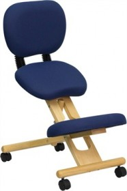 Mobile Wooden Ergonomic Kneeling Posture Chair in Navy Blue Fabric w/ Reclining Back - Flash Furniture WL-SB-310-GG