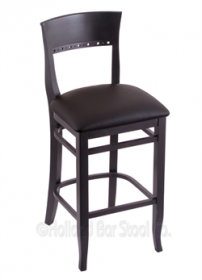 "(Shipping Included) Holland Hampton 3160  25"" Stool /w Black Finish, Allante Espresso Seat 316025BlkALEspr"