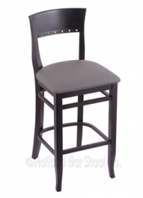 "(Shipping Included) Holland Hampton 3160  25"" Stool /w Black Finish, Allante Medium Grey Seat 316025BlkALMdGr"