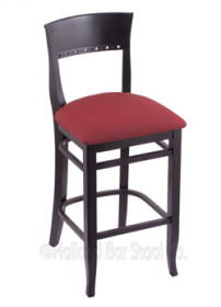 "(Shipping Included) Holland Hampton 3160  25"" Stool /w Black Finish, Allante Wine Seat 316025BlkALWine"