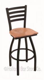 "(Shipping Included) Holland 41030BWMedOak 410 Jackie 30"" Bar Stool /w Black Wrinkle Finish, Medium Oak Seat"