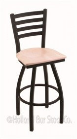 "(Shipping Included) Holland 41030BWNatMpl 410 Jackie 30"" Bar Stool /w Black Wrinkle Finish, Natural Maple Seat"