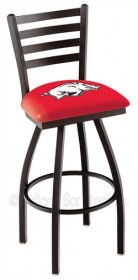 "25"" Black Wrinkle Logo Swivel Counter Stool w/ Ladder Back - Holland Bar Stool L014-25 (Shipping Included)"