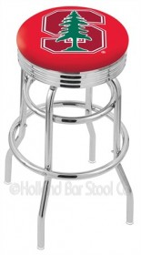 "30"" Chrome Double Ring Logo Swivel Bar Stool w/ 2.5"" Ribbed Accent Ring - Holland Bar Stool L7C3C-30 (Shipping Included)"