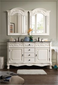 "Costa Blanca 60"" Double Granite Top Vanity in White - James Martin 206-001-5519"