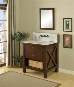 "JJ-32S1-EsWc-WM 32"" Espresso Xtraordinary Spa Premium single vanity sink cabinet with Carrera White Marble"