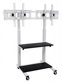 Dual Crank Adjustable Flat Panel TV Cart - Luxor CLCD-DUAL