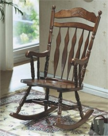 Dark Walnut Embossed Back Rocking Chair - Monarch Specialty I-1521
