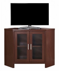"TV Stand - 42""L / Warm Cherry Corner w/ Glass Doors - Monarch Specialty I-2702"