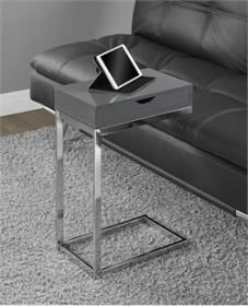 Glossy Grey Hollow-Core / Chrome Metal Accent Table - Monarch Specialty I-3032