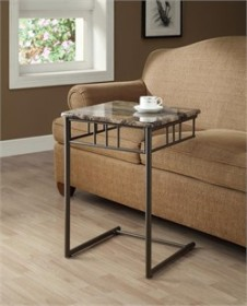 Cappuccino Marble / Bronze Metal Snack Table - Monarch Specialty I-3043
