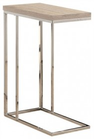 Natural Reclaimed-Look / Chrome Metal Accent Table - Monarch Specialty I-3203