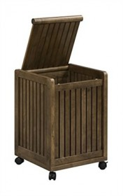 Abingdon Mobile Hamper w/ Lid in Antique Chestnut Finish - New Ridge 2214-CHS