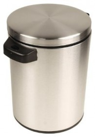Nine Stars DZT-5-1S Stainless Steel 1.3 Gallon Touchless Round Trash Can