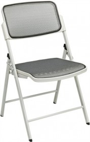 OSP Seating Deluxe Folding Chair w/ Beige ProGrid Seat & Back (Set of 2) - Office Star 81108